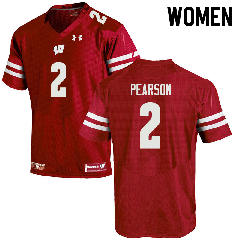 Women #2 Reggie Pearson Wisconsin Badgers College Football Jerseys Sale-Red